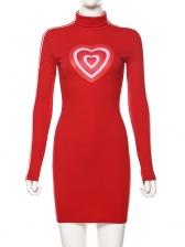 High Neck Heart Print Long Sleeve Mini Dress