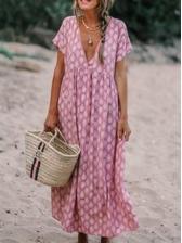V Neck Print Loose Short Sleeve Boho Maxi Dress