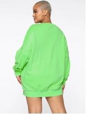 Tongue Printed Plus Size Long Crewneck Sweatshirt
