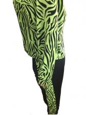 Irregular Striped Mock Neck 2 Piece Pants Set