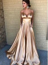 Deep V Neck Solid Straps Formal Evening Gowns