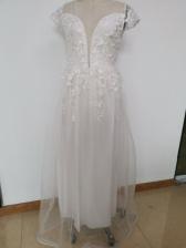 Lace Panel Large Hem White Wedding Dresses 2019
