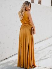 High Split Hem Solid Sleeveless Boho Maxi Dress