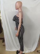 Polka Dots Ruffled Midi Strapless Summer Dress