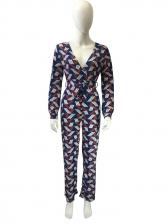 V Neck Tie-Wrap Geometric Printed Wide Leg Jumpsuit