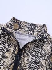 Snake Printed High Neck Zipper Up Long Sleeve Bodysuit