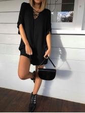 Euro Criss Cross Solid Long Sleeve Mini Dress