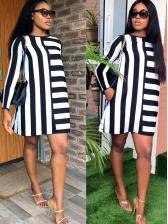 Leisure Striped Long Sleeve Short Dress