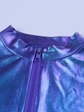 Hologram Cropped Zipper Up Stand Collar Top Shirt