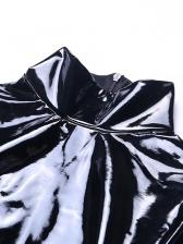 Pu Stand Collar Long Sleeve Black Bodysuit