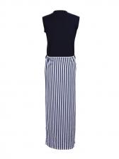 Fashion Striped Patchwork Slit Sleeveless Maxi Dress