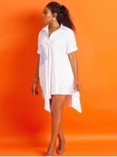 Turndown Collar Irregular Short Sleeve Dress