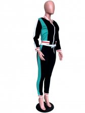 Stand Collar Contrast Color Workout Clothes