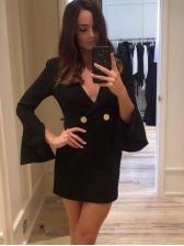Autumn Flare Sleeve Solid V Neck Short Dress