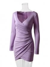 V Neck Solid Irregular Hem Long Sleeve Dress