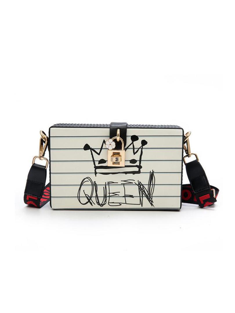Crown Pattern Metal Lock Rectangle Crossbody Shoulder Bags
