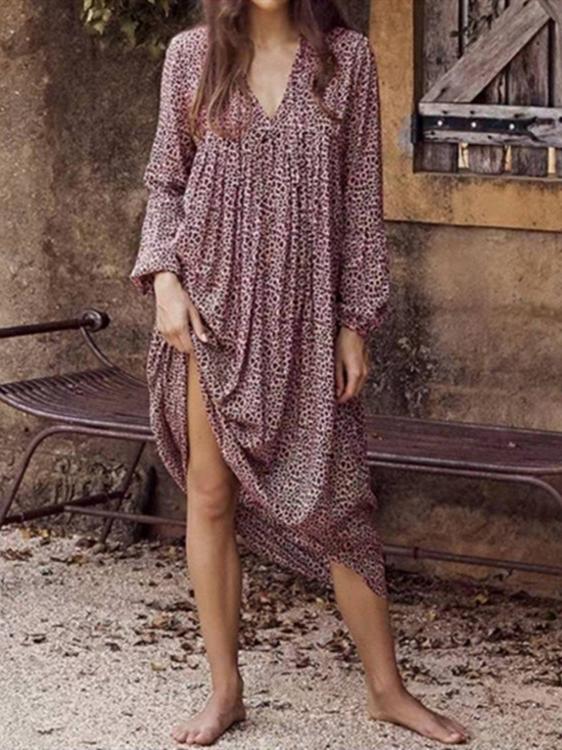 Euro V Neck Leopard Print Long Sleeve Maxi Dress
