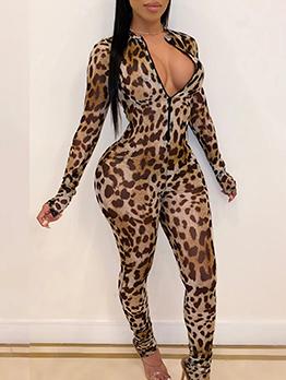 Leopard Printed Zipper Up Jumpsuits For Women