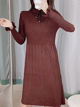 Knit Stringy Selvedge Solid Long Sleeve Dress