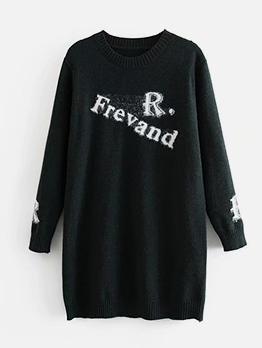 Letter JacquardWeaveCasual Sweater Dress