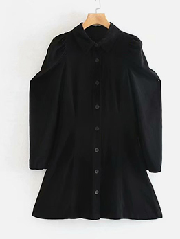 Loose Single-Breasted Black Long Sleeve Dress