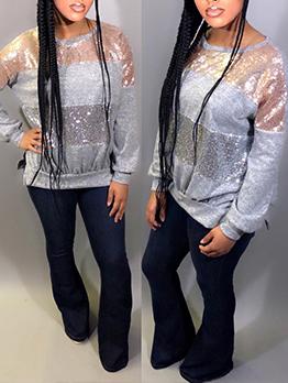 Glitter Sequins Patchwork Women Long Sleeve Sweatshirt