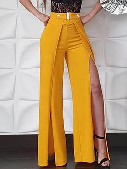 Trendy High Waist High Split Wide Leg Pants