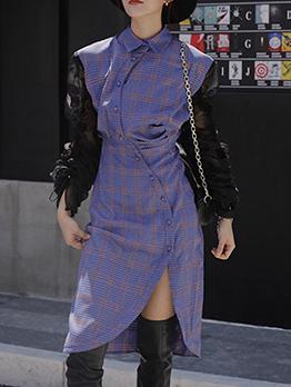 Asymmetric Hem Patchwork Plaid Midi Dress