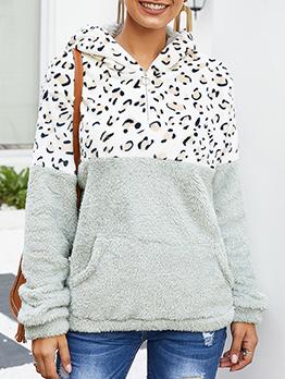 Leopard Printed Kangaroo Pocket Fur Zip Up Hoodies
