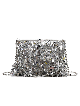 Glitter Diamonds Sequins Crossbody Bags With Beads Handle