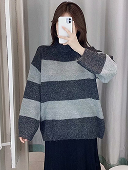 Contrast Color Striped Knit Sweater