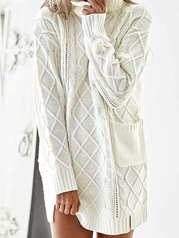 Stylish Pocket Turtleneck Sweater Dress