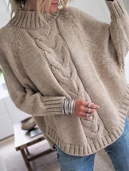 Grunge Style High Neck Knit Sweater