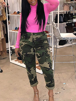 Leisure Mid Waist Pocket Camo Pants