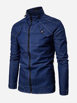 Stand Collar Zip Up Men Denim Jacket
