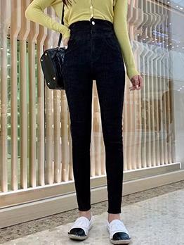 Cross Waist Skinny Black Jeans