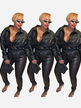 Turndown Neck Tie-Wrap All Black Pu Long Sleeve Jumpsuit