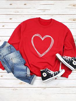 Easy Matching Heart Pattern Crew Neck Sweatshirt