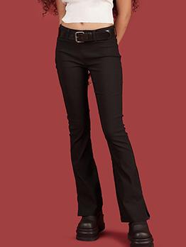 Simple Style Mid Waist Split Bottom Black Pants