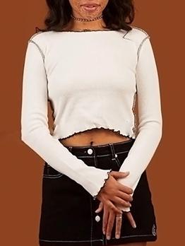 Easy Matching Long Sleeve Women Cropped T Shirt
