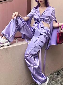 Large Pockets Smooth Satin Purple Wide Leg Pants