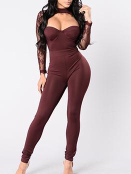 Low Cut Lace Patchwork Slim Long Sleeve Jumpsuit