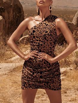 Sloping Shoulder Tiger Pattern Sleeveless Dresses