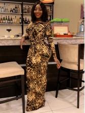 Animal Print Skim Fitted Long Sleeve Maxi Dress