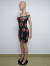 Rope Pulling Off Shoulder Short Sleeve Bodycon Dress