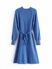 Lace Up Raglan Sleeve Knit Long Sleeve Dress