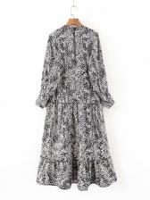 Stylish Animal Printing Long Sleeve Maxi Dress