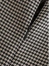 Houndstooth Print Empire Waisted Long Sleeve Dress