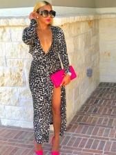 Euro Deep V Neck Split Hem Leopard Maxi Dress