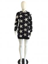 Star Print Hoodies Long Sleeve Sporty Dress